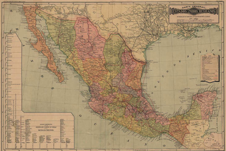 Mexican Maps by State Dated 1884 - 1886